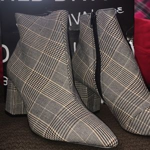 Plaid booties with black zipper detail